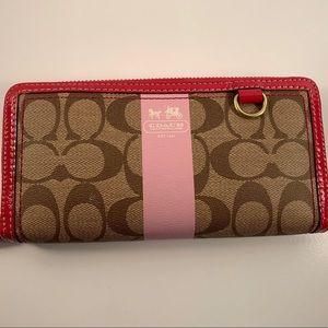 Coach New Signature Long Wallet Khaki/Pink